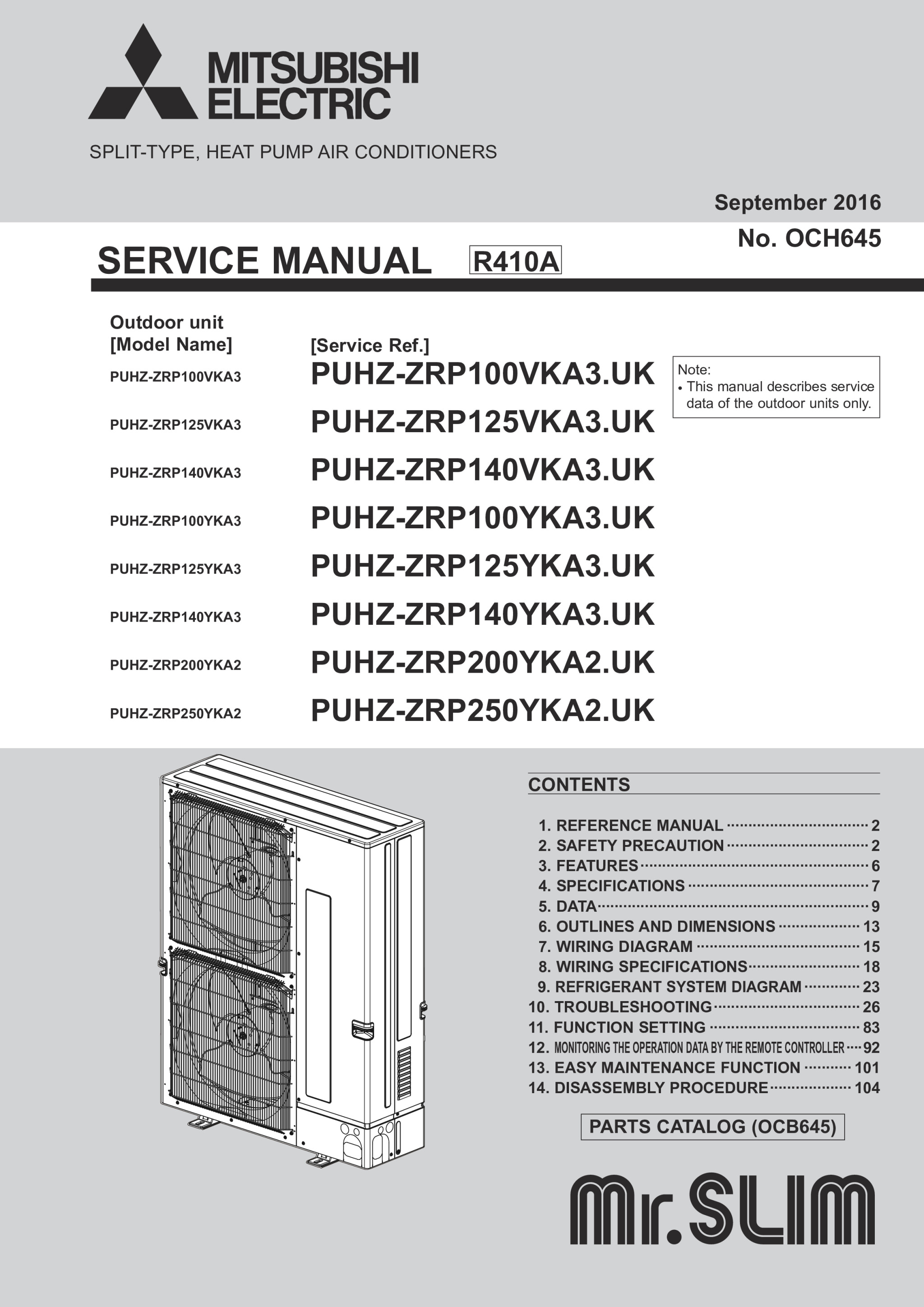 0_main puhz zrp100 250v yka(3)(2) service manual (och645) mitsubishi mitsubishi mr slim wiring diagram at n-0.co
