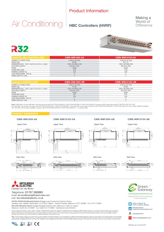 HBC Controllers (HVRF) Product Information Sheet