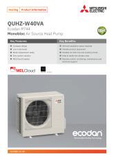 Ecodan QUHZ-W40VA Monobloc Air Source Heat Pump Product Information Sheet cover image