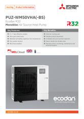 Ecodan PUZ-WM50VHA Monobloc Air Source Heat Pump Product Information Sheet cover image