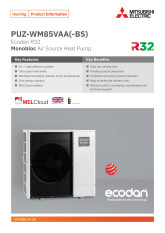 Ecodan PUZ-WM85VAA Monobloc Air Source Heat Pump Product Information Sheet cover image