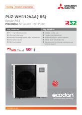 Ecodan PUZ-WM112VAA Monobloc Air Source Heat Pump Product Information Sheet cover image