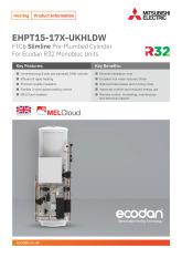 Ecodan Slimline Pre-Plumbed Cylinder EHPT15-17X-UKHLDW Product Information Sheet cover image