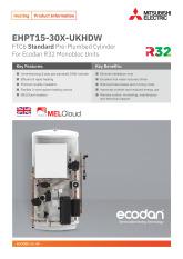 Ecodan Standard Pre-Plumbed Cylinder EHPT15-30X-UKHDW Product Information Sheet cover image