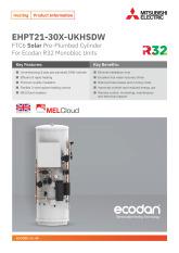 Ecodan Solar Pre-Plumbed Cylinder EHPT21-30X-UKHSDW Product Information Sheet cover image