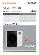 Ecodan PUZ-WM60VAA Monobloc Air Source Heat Pump Product Information Sheet cover image