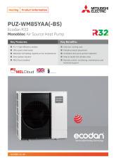 Ecodan PUZ-WM85YAA Monobloc Air Source Heat Pump Product Information Sheet cover image