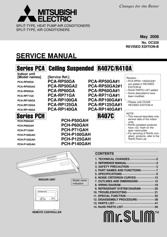 PCH-P50-140GAH_Serice_Manual_(OC328) - Mitsubishi Electric
