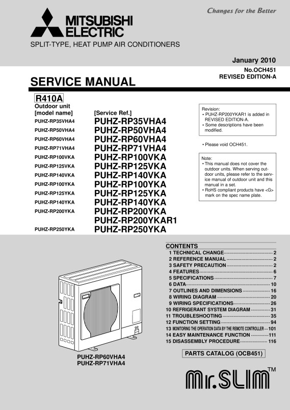 PUHZ-RP200-250 Service Manual OCH451A - Mitsubishi Electric