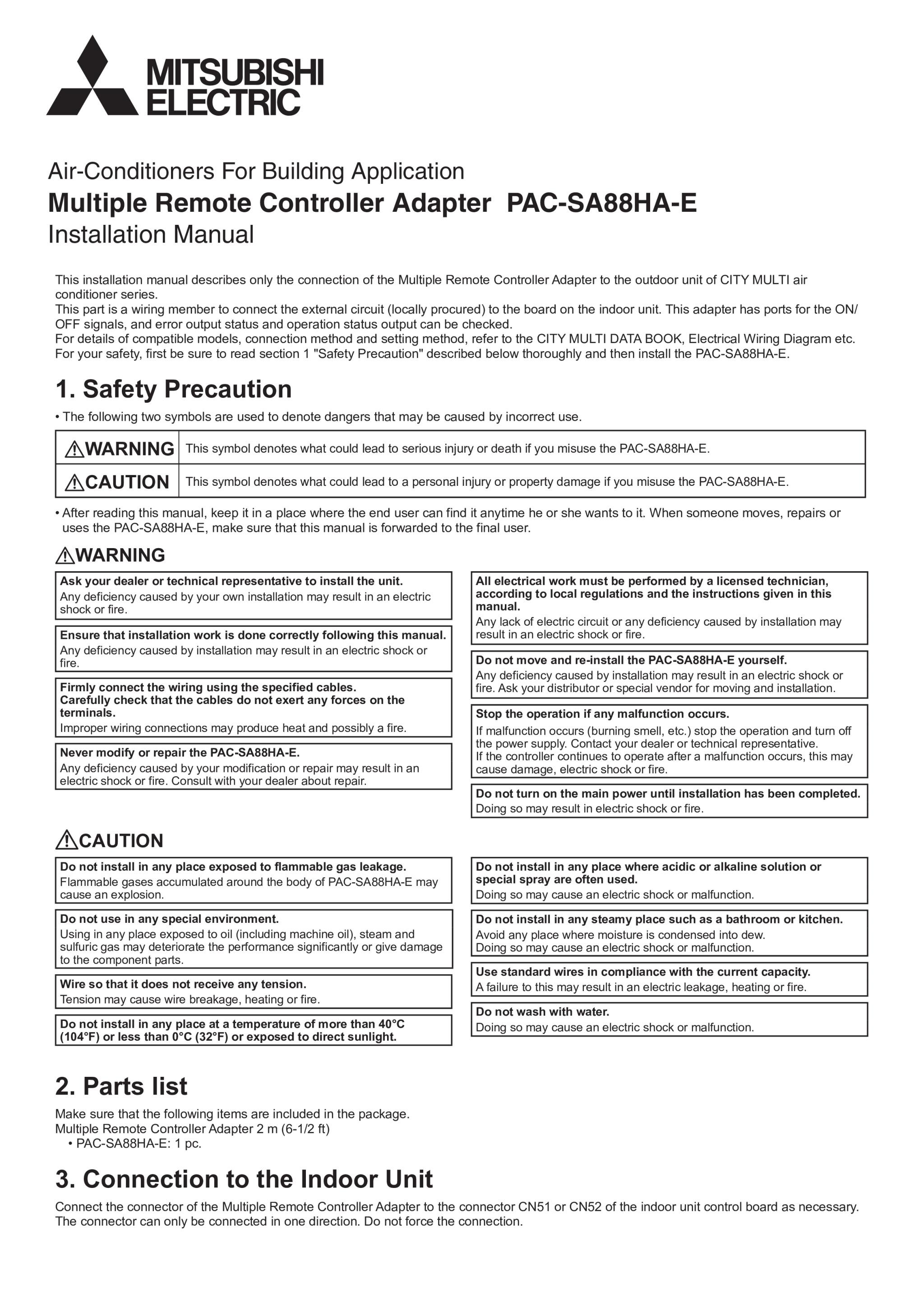 Pac sa88ha e installation manual wt02522x04 mitsubishi electric page 1 zoom in buycottarizona Choice Image
