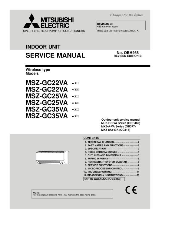 Phenomenal Msz Gc22 35 Service Manual Obh468 Mitsubishi Electric Wiring 101 Akebretraxxcnl