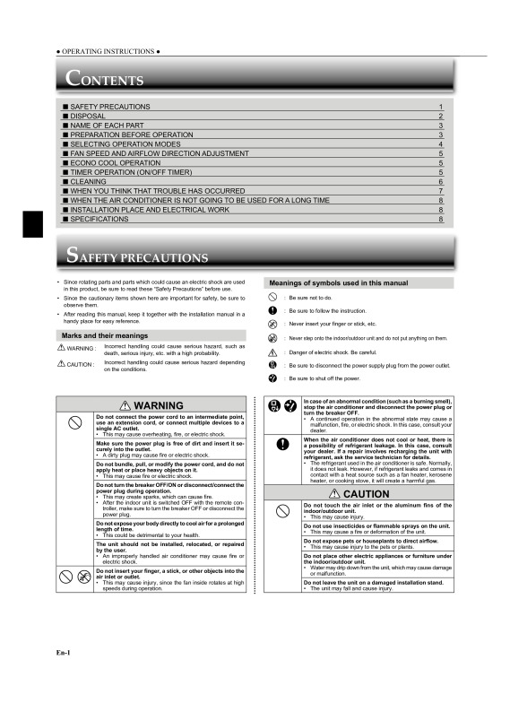 MSZ-GC22-35_Instruction_Book_(SG79F225H02) - Mitsubishi Electric