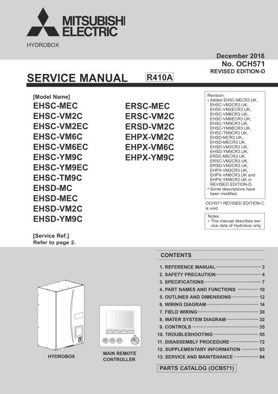 Ecodan Ftc5 Ehsdc Mec Ehpx Vm2c Hydrobox Service Manual