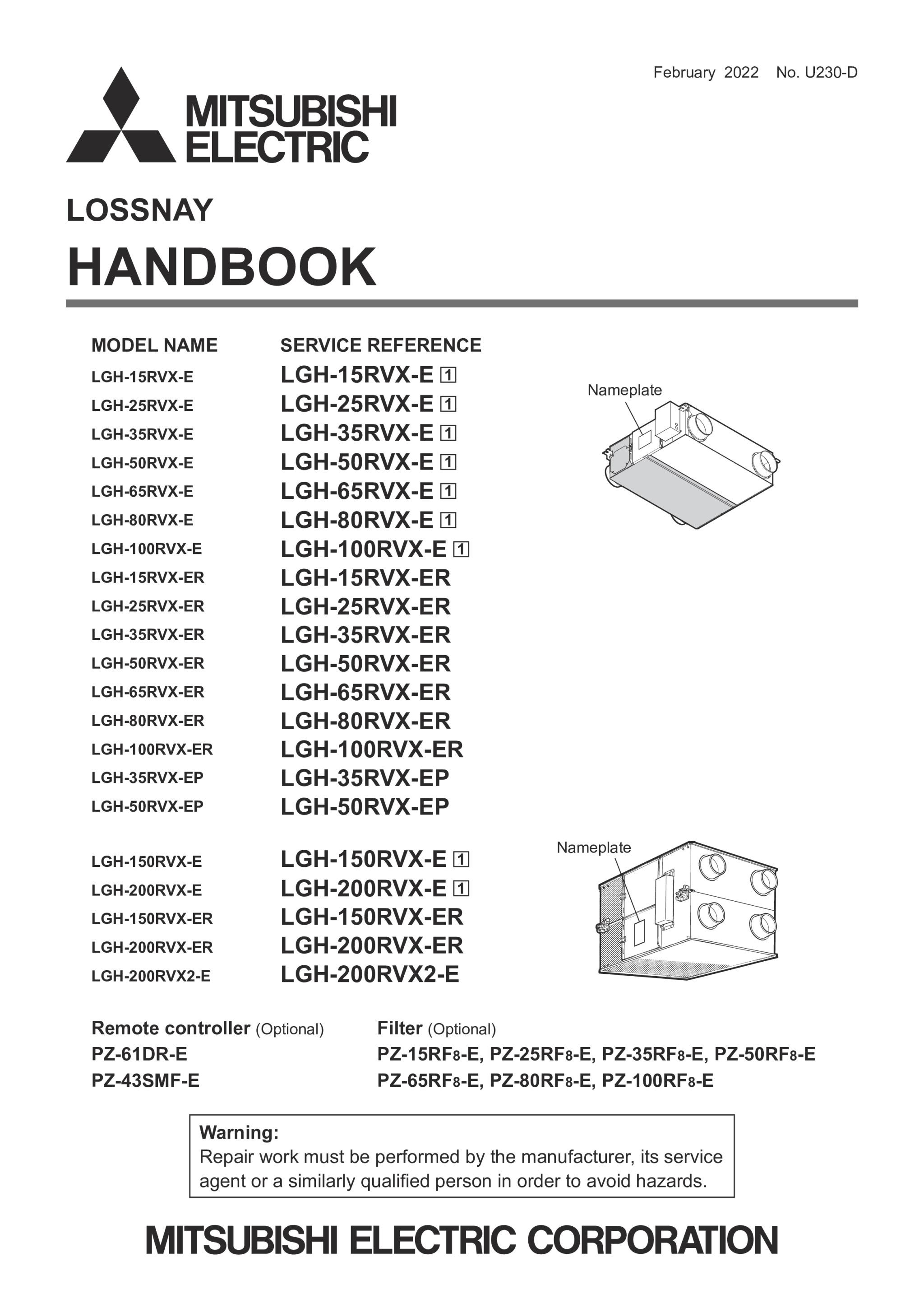 Lgh 15 200rvx e service manual u204 a mitsubishi electric page 1 zoom in buycottarizona Choice Image