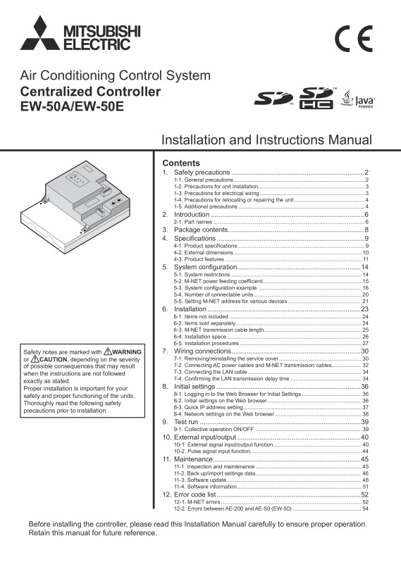 EW-50E Installation Manual and Instruction book (WT07417X01