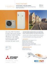Ecodan QUHZ-W40VA / EHPT20Q-VM2EA Monobloc Air Source Heat Pump Product Information Sheet cover image