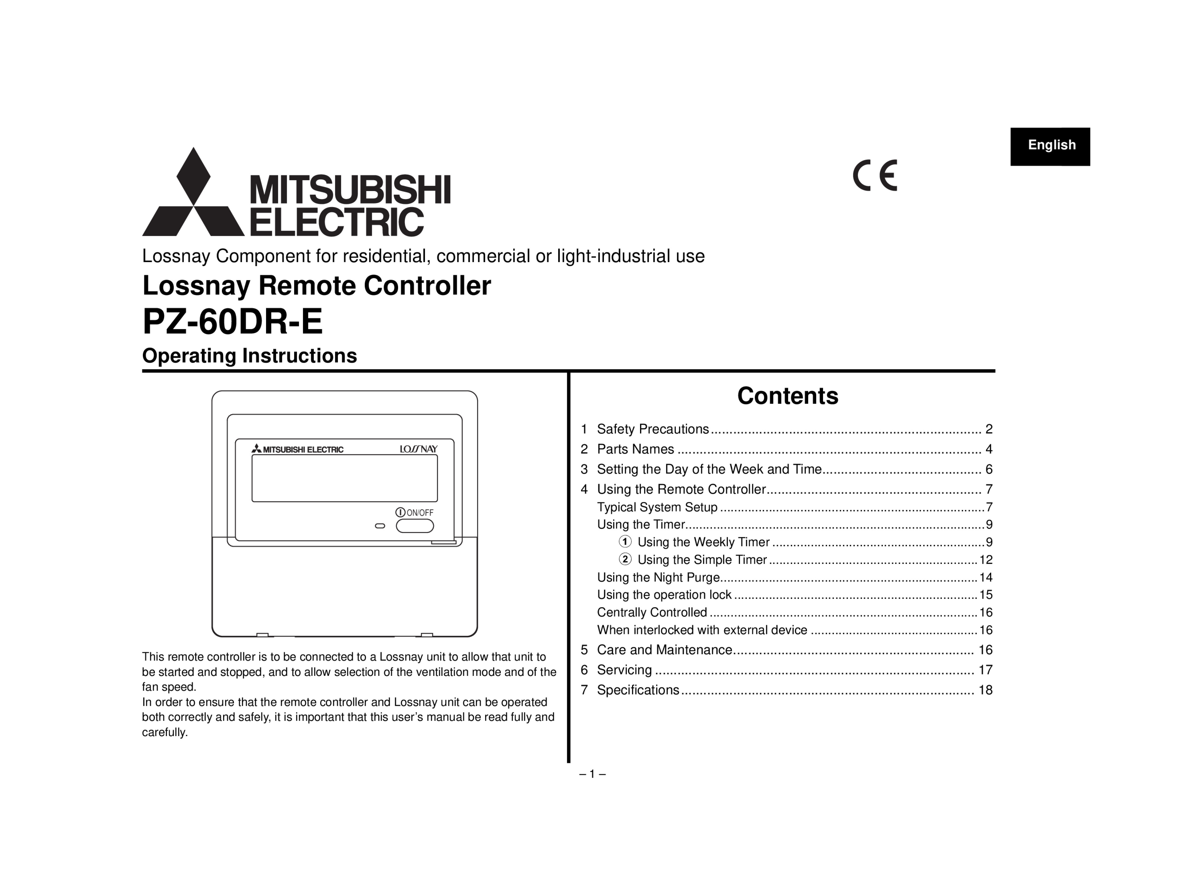 Pz 60dr e lossnay controller operation manual mitsubishi electric page 1 zoom in buycottarizona Choice Image