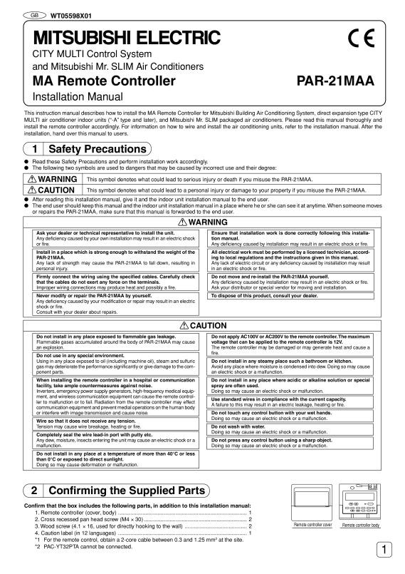 par 21maa installation manual wt05598x01 mitsubishi electric rh library mitsubishielectric co uk Mitsubishi Wireless Remote Control Manual Mitsubishi Wireless Remote Control Manual