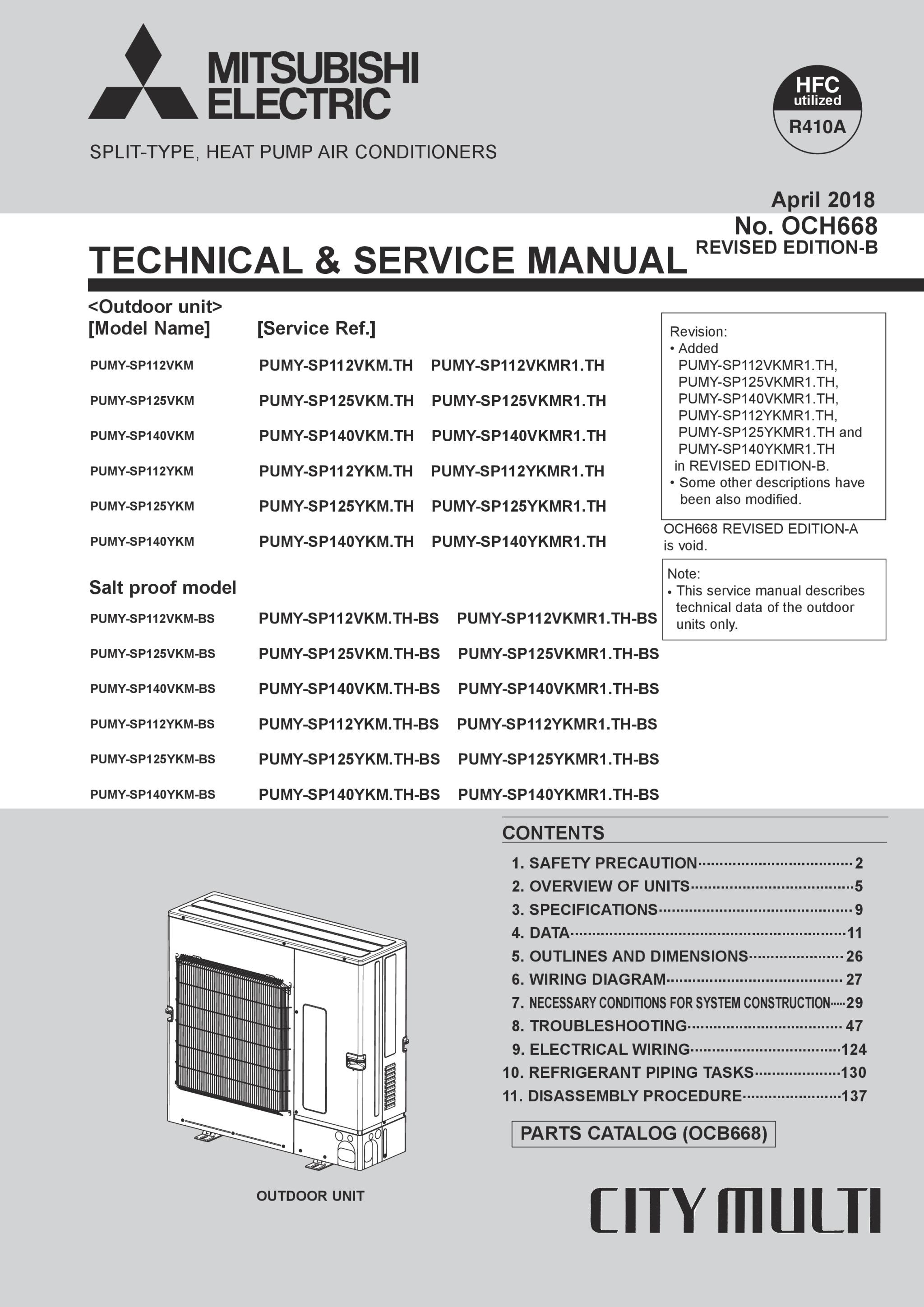 Mitsubishi City Multi Wiring Diagram Electric Pumysp112140vykm Service Manual Och668b