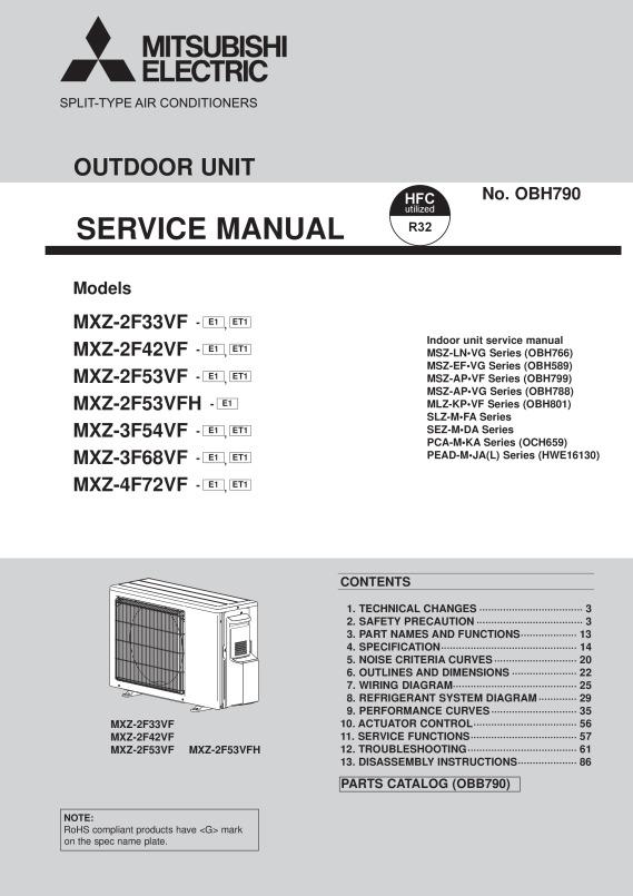 Mitsubishi Mini Split System Service Manual Schematic Wiring