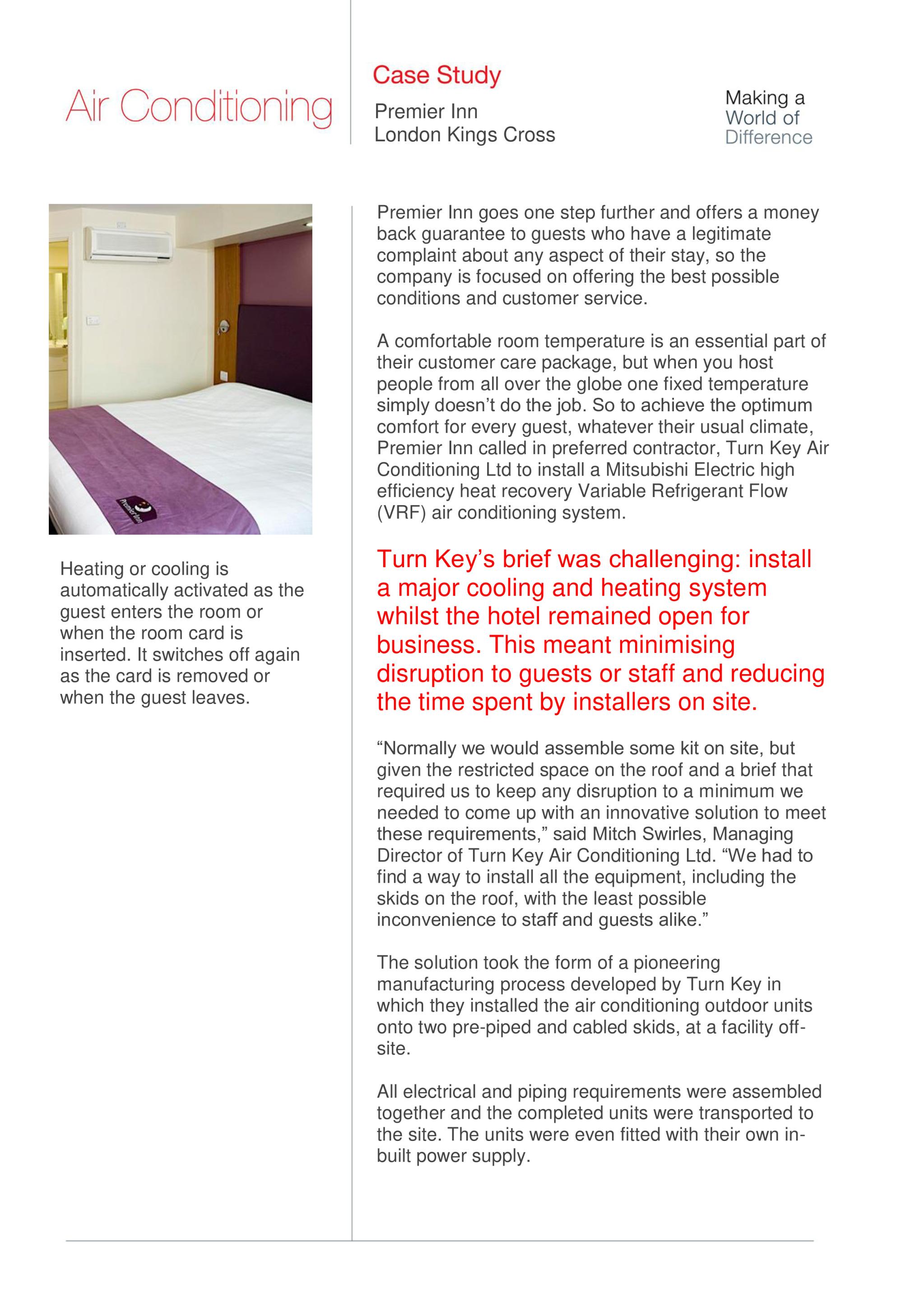 Premier Inn, City Multi VRF (R2 Series), London - Mitsubishi Electric