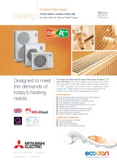 Ecodan PUHZ-SW50-120VKA/VHA Split Air Source Heat Pump Product Information Sheet cover image